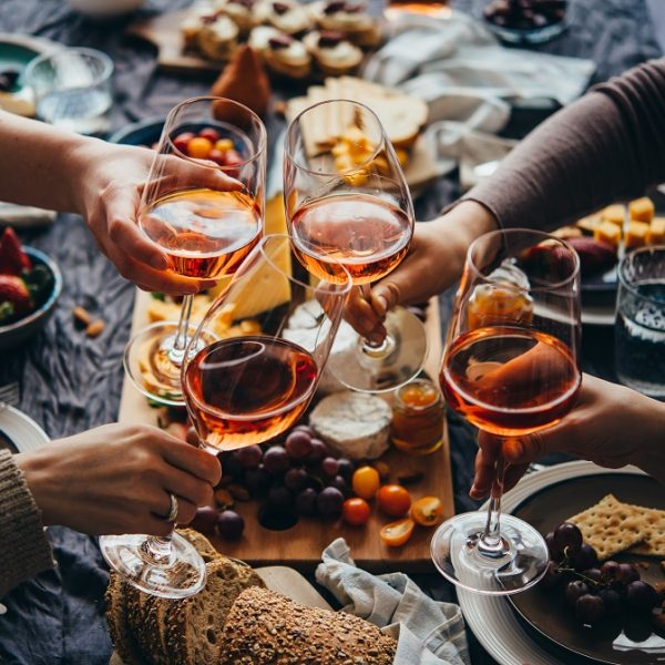 Glasses,Of,Rose,Wine,Seen,During,A,Friendly,Party,Of
