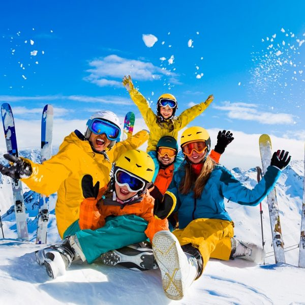 Ski,In,Winter,Season,,Mountains,And,Ski,Family,On,The